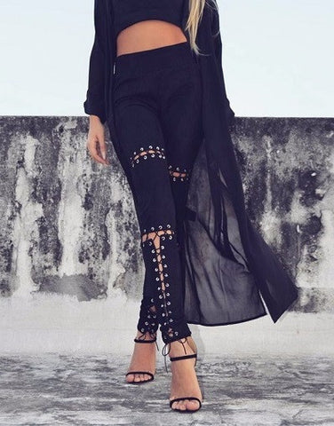 Lace Up Black Legging Pants