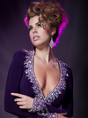 A-line Long Sleeves Purple Gown