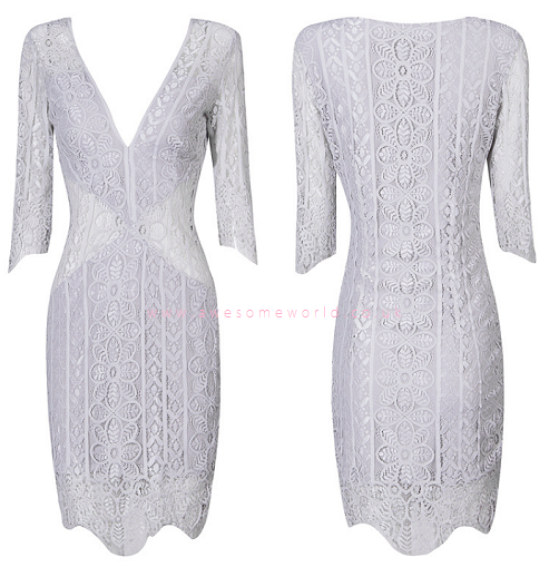 Laced Mesh Sleeves & Sides Dress