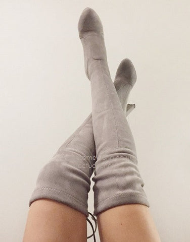 Kardash Grey Over Knee Boots - 2 Heel Sizes & 2 Models