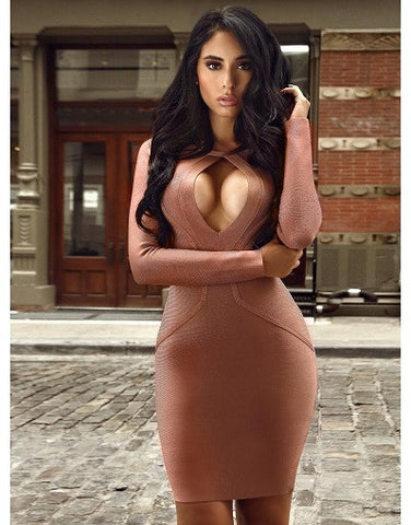 Coffee Bandage Dress with Keyhole Cutout