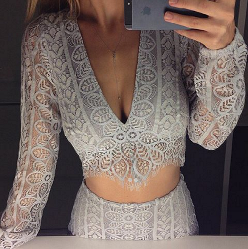 Laced Mesh Sleeves & Back Two Pieces Set - Awesome World - Online Store  - 4