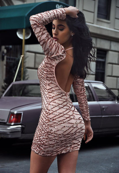 Beige Sequin Detail Sheer Mesh Backless Dress - Awesome World - Online Store  - 3