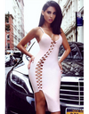 Asymmetric Lace Up Pink Bandage Dress - Awesome World - Online Store  - 2