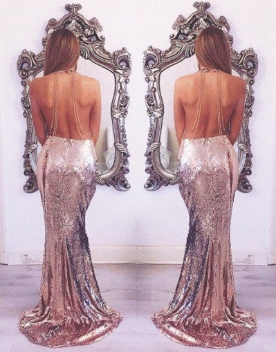 Till The Glitter Ends Rose Gold Maxi Dress