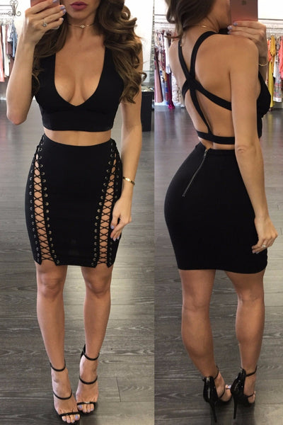 Backless Lace up Skirt Set