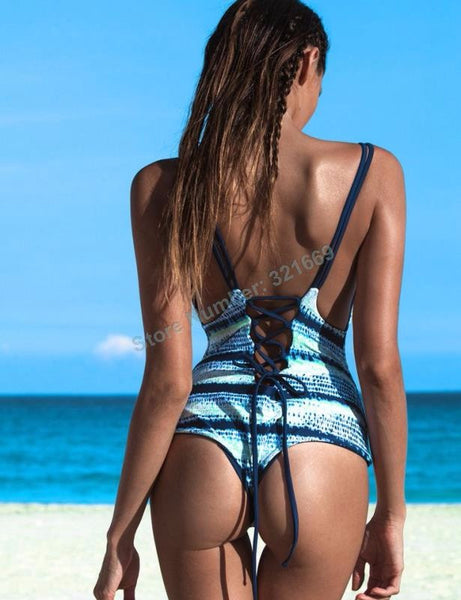 Lace Up Back Premium Swimsuit