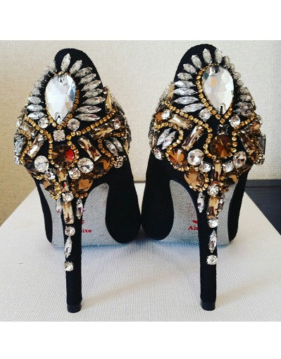 Rhinestones Sole Velvet Heels - 2 heel sizes - Awesome World - Online Store  - 1