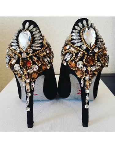 Rhinestones Sole Velvet Heels - 2 heel sizes