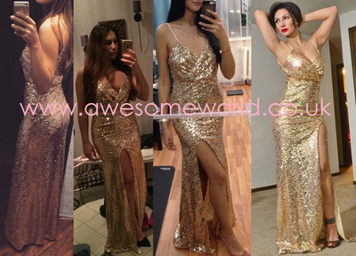 Sequinned Gold Gown - Awesome World - Online Store  - 2