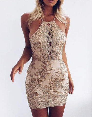 Sequin Embroidery Gold Dress