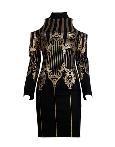 Open Shoulders Black & Gold Dress