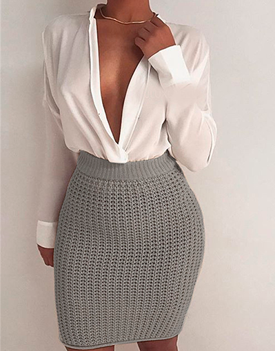 Knitted Skirt - Beige & Grey - Awesome World - Online Store  - 2