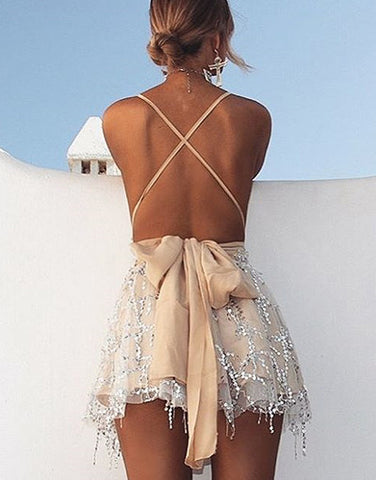 Spring Sequin Backless Dress
