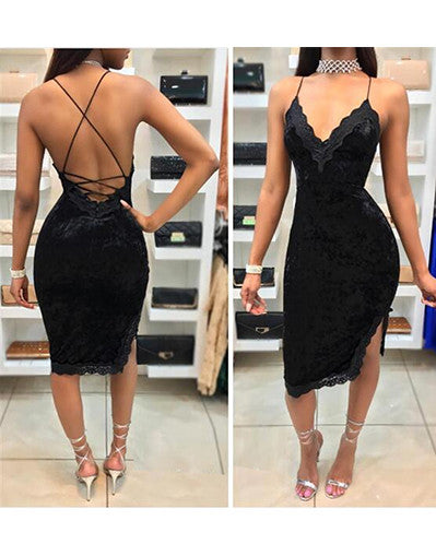 Velvet Backless Dress - 2 Colors