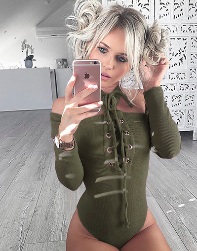 Cut out lace up bodysuit - in 5 Colors - Awesome World - Online Store  - 2