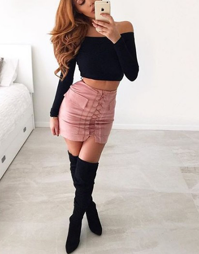Lace Up Skirt - in 6 colors - Awesome World - Online Store  - 4