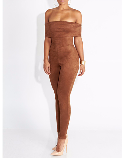 Brown Strapless Jumpsuit - Awesome World - Online Store  - 3