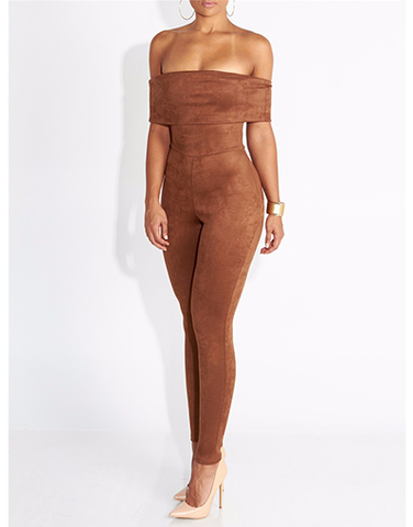 Brown Strapless Jumpsuit