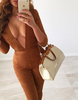 V-neck Brown Jumpsuit - Awesome World - Online Store  - 2