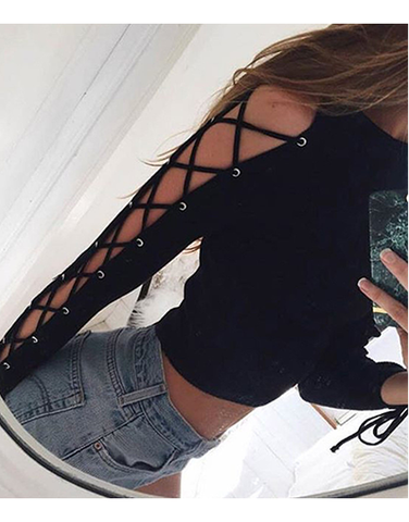 Lace up Sleeves Top