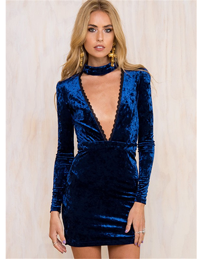 V-Neck Choker Velvet Dress - Awesome World - Online Store  - 2