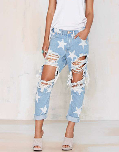 Ripped Stars Boyfriend Jeans - Awesome World - Online Store  - 2