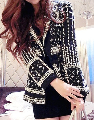 B Pearl Beading Black Blazer - Awesome World - Online Store  - 1