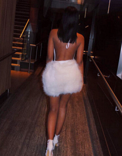 Fluffy Glam White Dress - Awesome World - Online Store  - 2