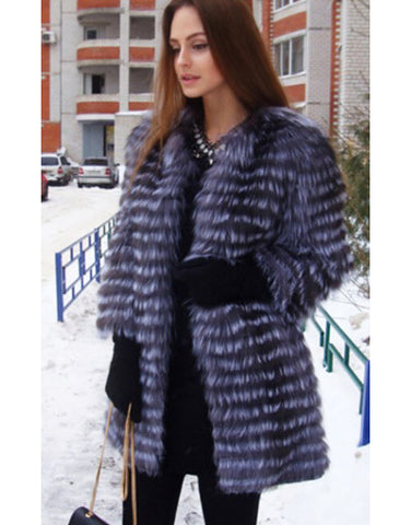 Genuine Blue & Black Fur Coat