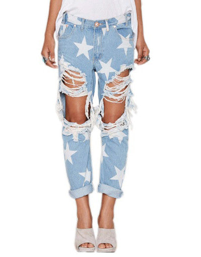 Ripped Stars Boyfriend Jeans - Awesome World - Online Store  - 1