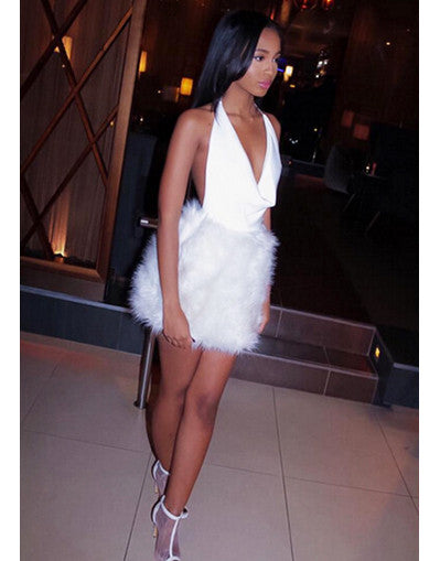 Fluffy Glam White Dress - Awesome World - Online Store  - 1