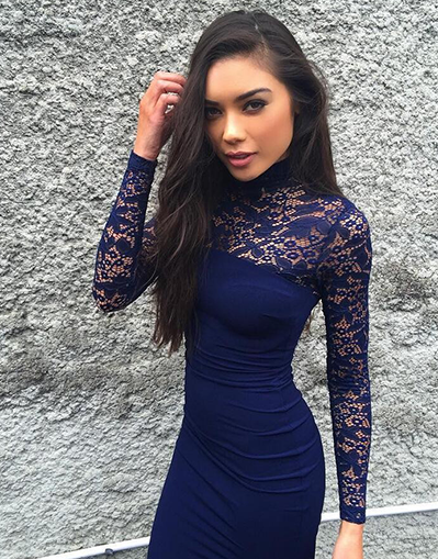 Long Sleeve Lace Dress - Awesome World - Online Store  - 2