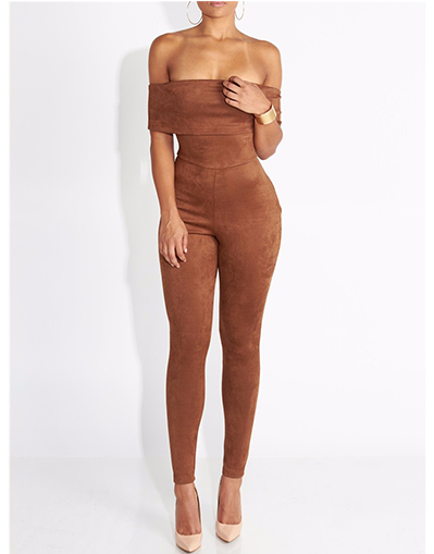 Brown Strapless Jumpsuit - Awesome World - Online Store  - 1