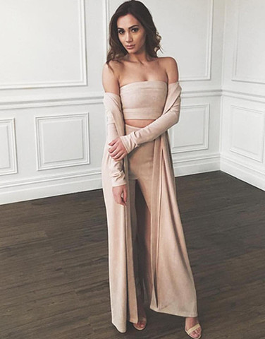 Velvet Khaki Jumpsuit Set