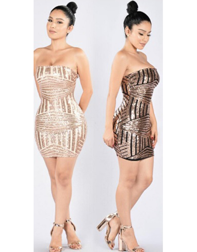 Strapless Sequin Dress - Awesome World - Online Store  - 1