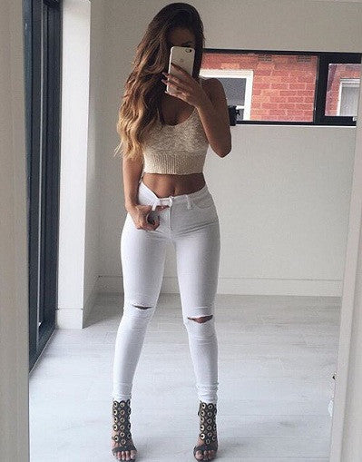 White/Black Ripped Knee Pants - Awesome World - Online Store  - 1