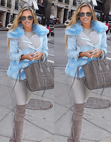Aqua Blue Fur Jacket