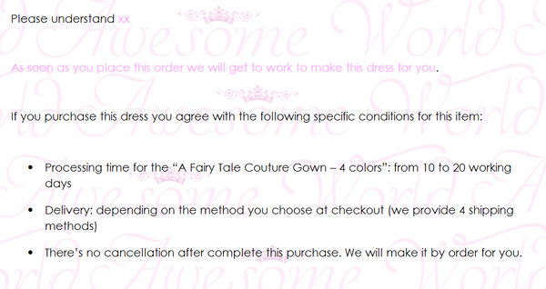 A Fairy Tale Couture Gown - 4 colors - Awesome World - Online Store  - 8