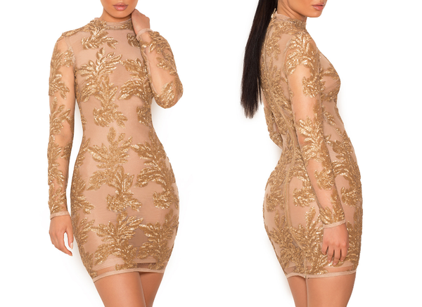 Bandage Gold Mesh Dress w Sequins - Exclusive Stock - Awesome World - Online Store  - 8