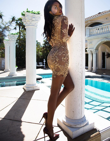 Bandage Gold Mesh Dress w Sequins - Exclusive Stock