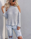 High Neck Without Shoulders Sweater -  6 Colors - Awesome World - Online Store  - 1