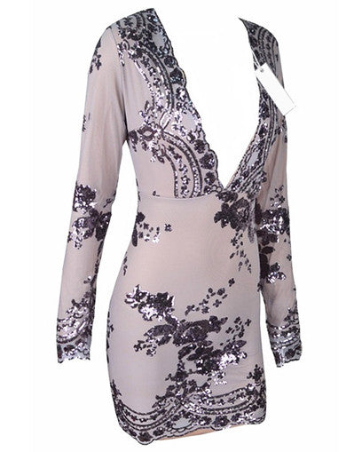 Glam Edition - Deep V Purple Glitter Dress - Awesome World - Online Store  - 4