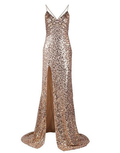 Backless Sequinned Gold Gown - Awesome World - Online Store  - 4
