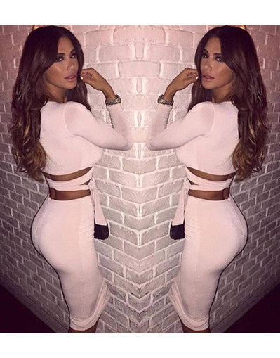 Two Pieces Long Sleeves Bodycon Set - Awesome World - Online Store  - 3