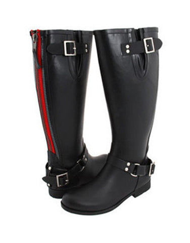 Rubber Boots with Neon Zipper