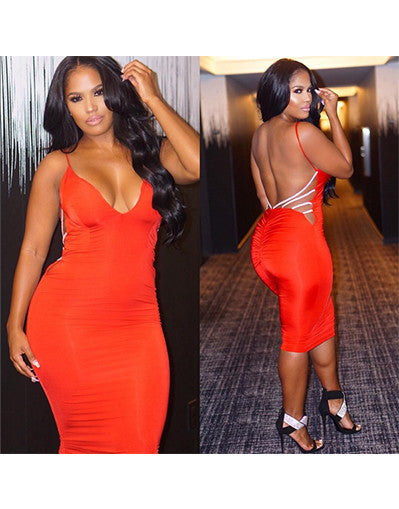 Bodycon Midi Backless Dress - Red or Nude-Silver - Awesome World - Online Store  - 3