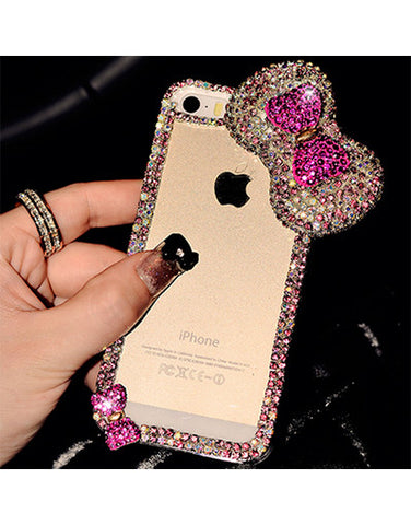 3D Bow Transparent Cover Case - iPhone