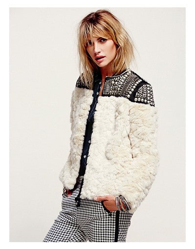Faux Fur Studded Coat - Awesome World - Online Store  - 2