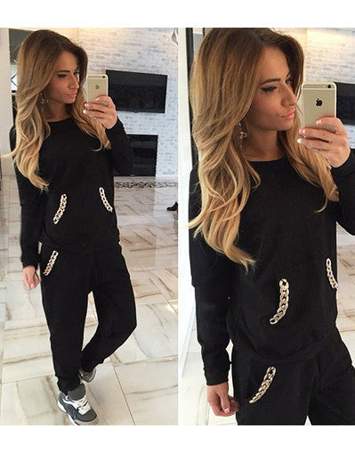 Gold Chain Casual Tracksuit - Awesome World - Online Store  - 2